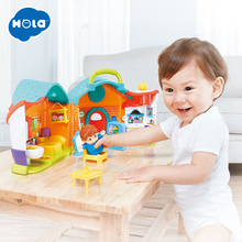 HOLA 3128A Simulation House Miniature Furniture DollHouse Accessories Toys Wood Set Dolls Baby Room For Kids Play Gift