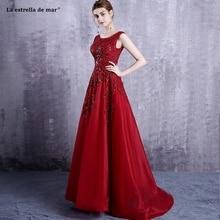 Vestido madrinha new lace beaded a Line red burgundy bridesmaid dresses trailing beautiful gaun pesta dewasa