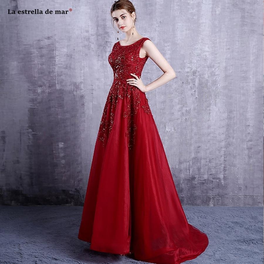 Vestido madrinha2019 new lace beaded a Line red burgundy
