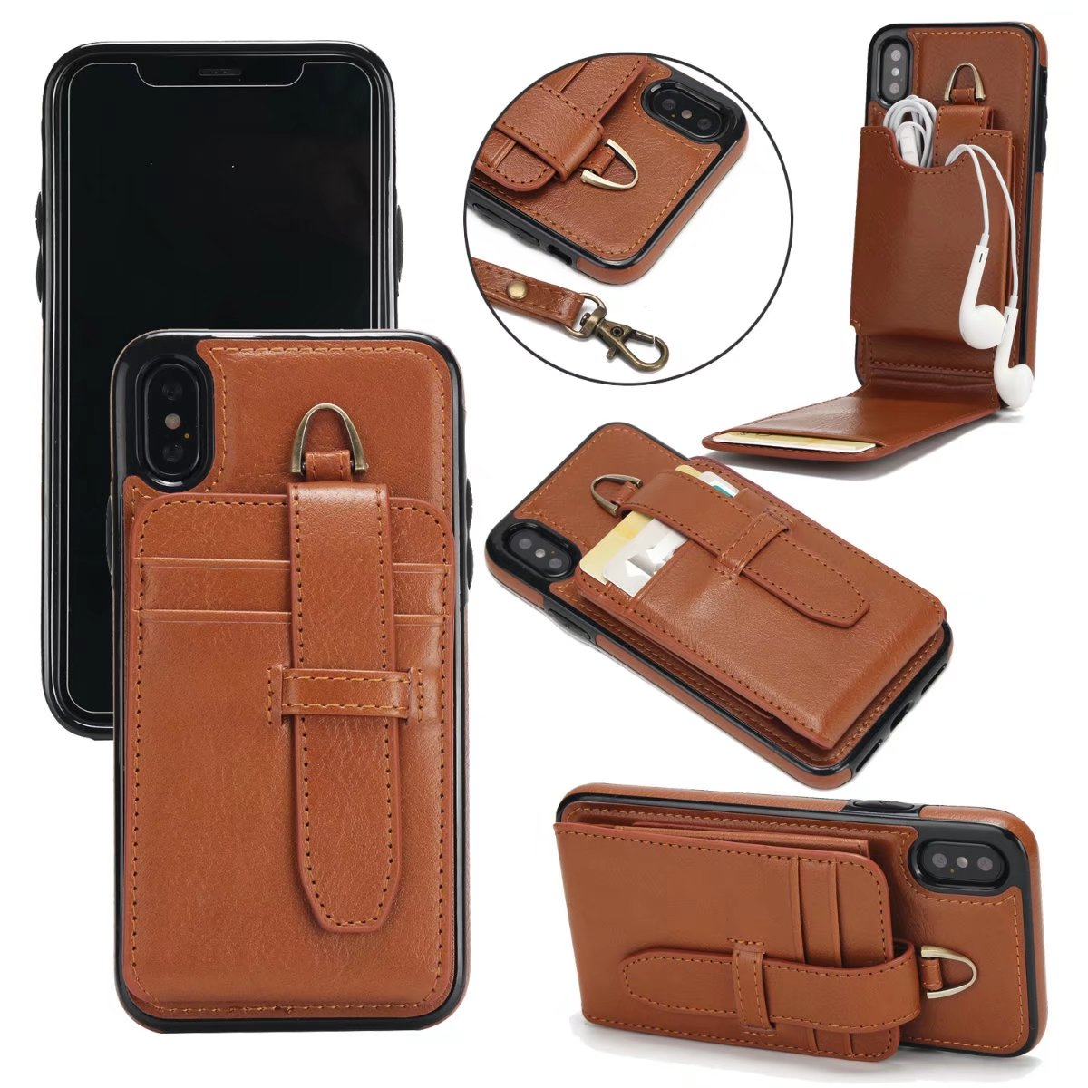 Luxury Leather Flip Case for iPhone X Wallet Book Cover 2-in-1 Vertical Flip for iPhone X Case iPhoneX 2017 Phone Case Holder