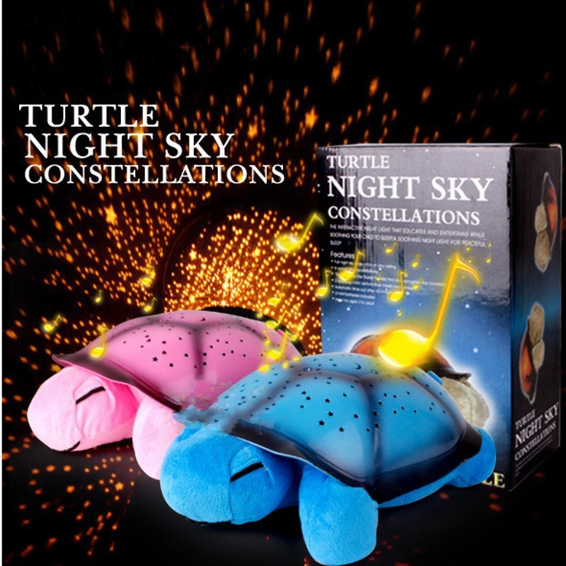 FENGLAIYI Fashion Cute Turtle 4 Light Music LED Night Light Moon Star Projector Led Lights For Kids Bedroom Home Decor Lamp