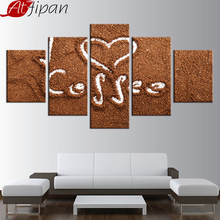 AtFipan Modular Canvas Paintings Wall Art Frame For Living Room Decor 5 Pieces Love Coffee Poster HD Prints Bean Pictures