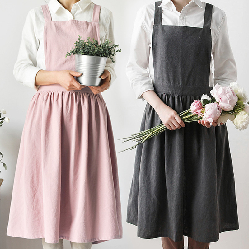 Pink Gray Cotton Apron Home Kitchen Cooking Baking Painting Craft Work Wear Cafe Barista Restaurant Waitress Florist Uniform B2 image