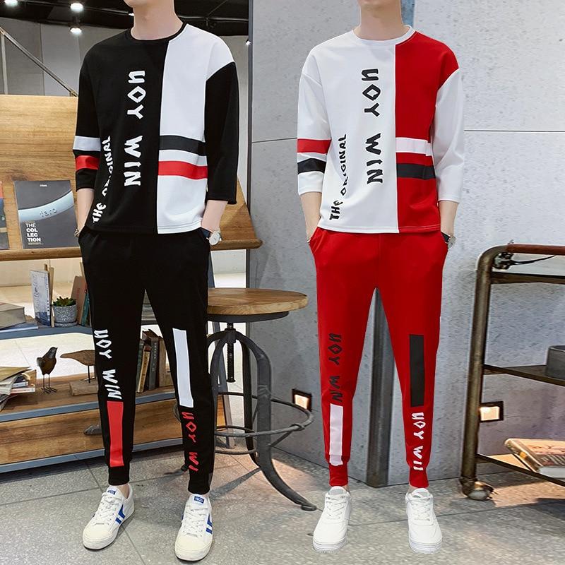 Mode Hip Hop Sport Hommes Deux Pièces t-shirt + Pantalon Sweat Ensemble décontracté Jeunes survêtement Vêtements Hommes Lettre Imprimer Ensemble De Survêtement - 3