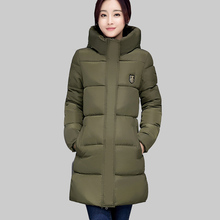2016 New Fashion Korean Long Winter Jacket Women Slim Female Coat Thicken Parka Down Cotton Clothing Red Hooded Outwear ZA249