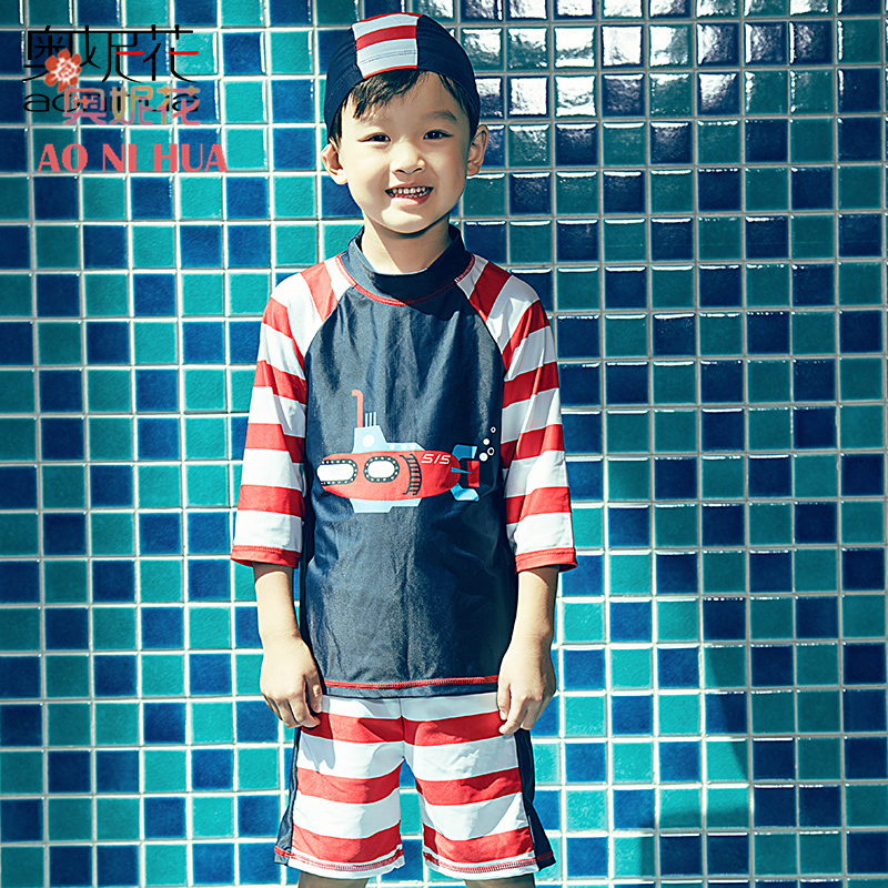 9d2d9b5d52d AONIHUA 2017 New Submarine Print Striped Two Piece Swimsuit Boys kids  Professional Long sleeve swimwears Children bathing suit-in Body Suits from  Sports ...