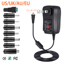 30W US/UK/AU/EU Universal Power Adapter 3V 4.5V 5V 6V 7.5V 9V 12V AC DC Charger Converter + 5V 2.1A USB Port With 8Pcs jack цена и фото