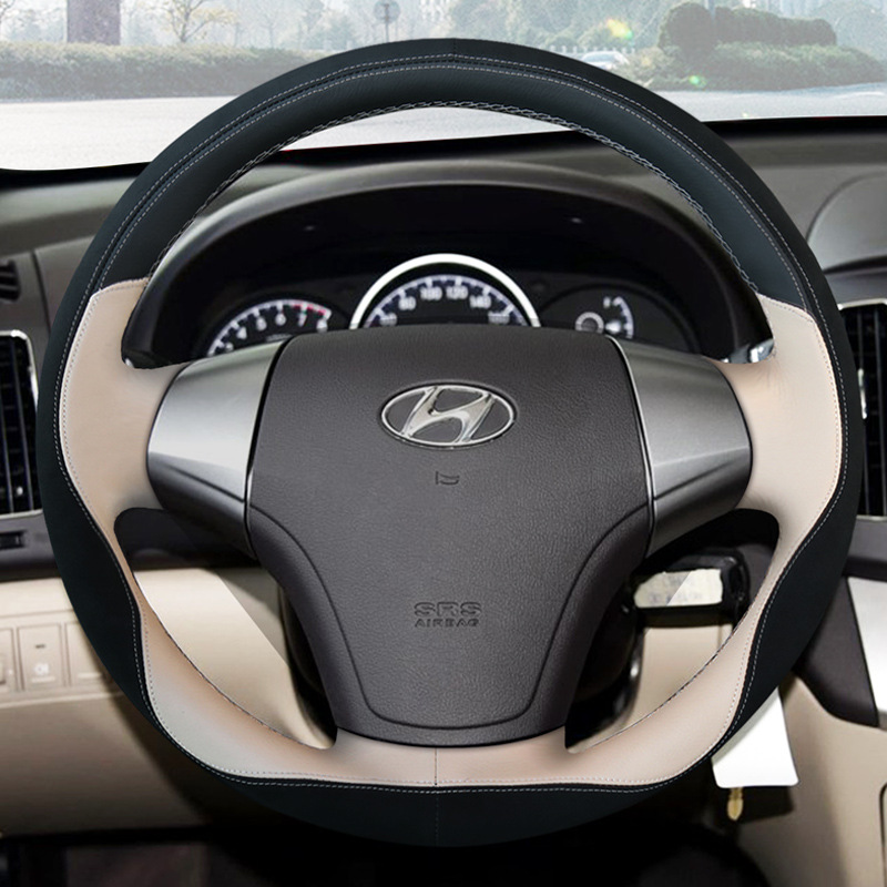 Car Believe Genuine car steering wheel cover For hyundai santa fe elantra 2017 solaris accent steering wheel car accessories