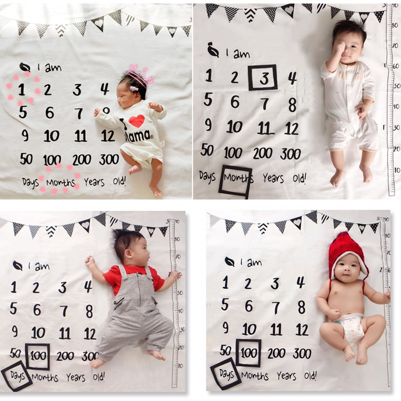 Aimeixiuyi Newborn Baby Monthly Growth Milestone Blanket