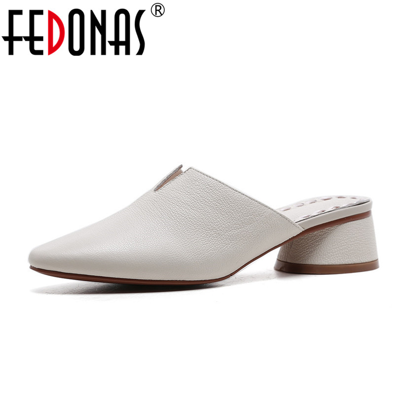 FEDONAS Euro Style Women Genuine Leather Thick High Heels Summer Shoes Fashion Comfort Casual Slippers Women Sandals fedonas women sandals soft genuine leather summer shoes woman platforms wedges heels comfort casual sandals female shoes