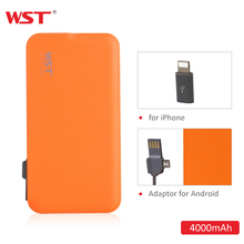 WST 4000mAh Power Bank Built-in Cable Portable Battery Charger Colorful External Battery Pack