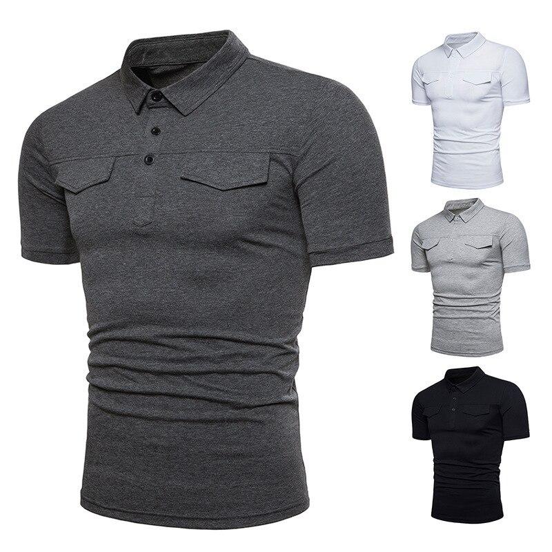 Summer Men's Fashion tshirts Slim fit T-shirt Solid Color Lapel Short Sleeve Men Tops mens clothing tees brand shirts
