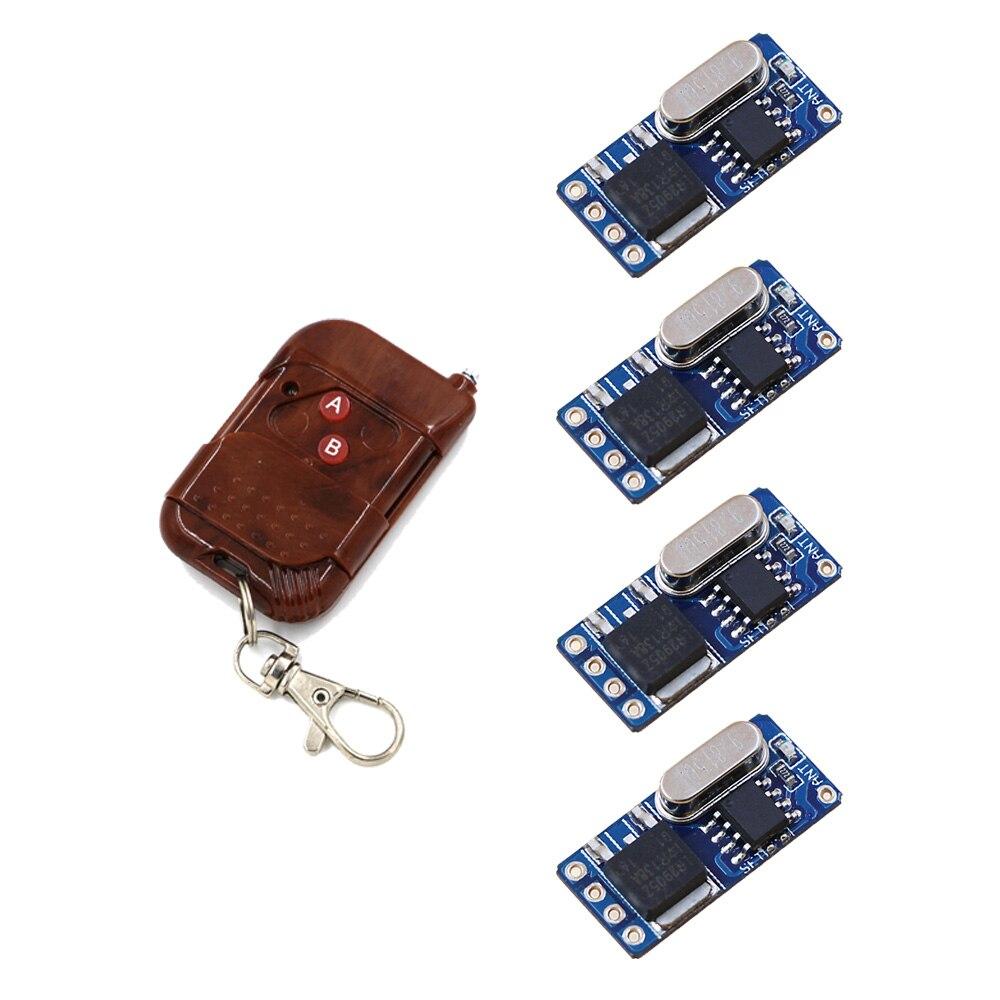 Latest No Sound Mini Receiver Transmitter DC3.5V 5V 6V 7.2V 8.4V 9V 12V Contactless Remote Control System 315/433 Long Distance 315 433mhz 12v 2ch 6 transmitter