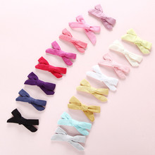 16pcs/lot Handmade Candy Color Bow Hair Clips For Girls Simple Design Small Hairpins Cute Solid Accessories Child
