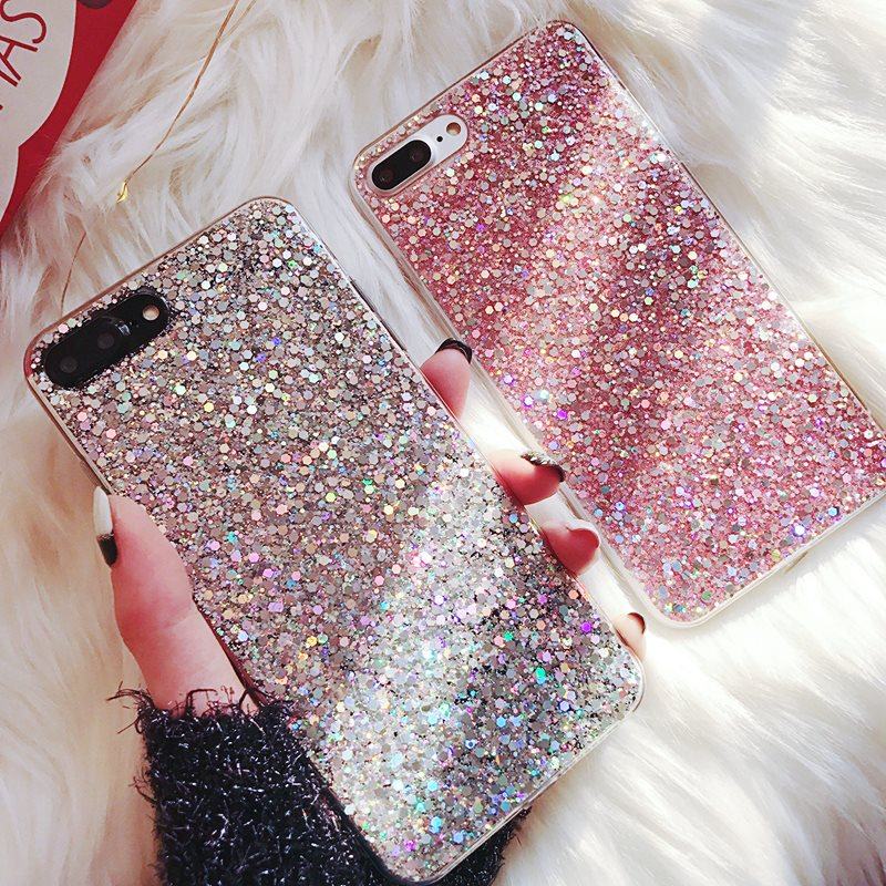 Bling Glitter Lantejoulas Cristal Telefone Silicone para Samsung Galaxy A6 A8 J6 2018 S8 S9 Plus S7 Borda A3 a5 A7 J3 J5 J7
