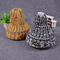 Fashion Thicken Winter Knitted Hat With Mustache Patches for Women Knitting Wool Cap Warm Bomber Earflap Flag Winter Beanie Hat