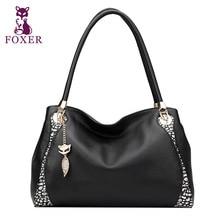 FOXER Real Cowhide Genuine Learher fashion color portable shoulder bag Women handbag free shipping