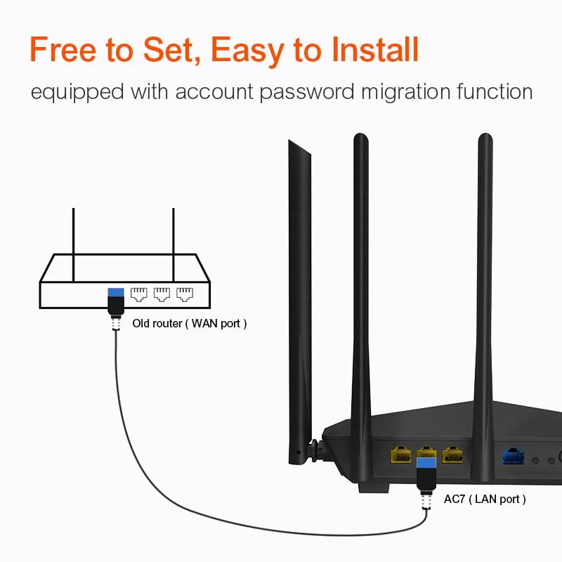 Сеть Беспроводной Wi-Fi маршрутизатор Tenda AC7 11AC 2.4GHz / 5.0Ghz Wi-Fi ретранслятор 1 * Wan + 3 * LAN порта 5 * 6dbi антенна (Фото 4)