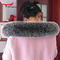 Russo real genuine fox fur collar/Embalagem/Lenço da Pele preto/branco gola QS12