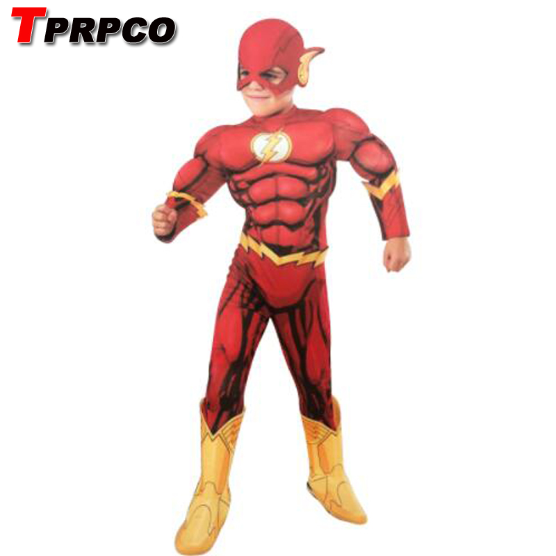 TPRPCO The Flash Muscle Superhero Costume Kids Fantasy Comics Movie Carnival Party Halloween Flashman Cosplay Costumes NL1611