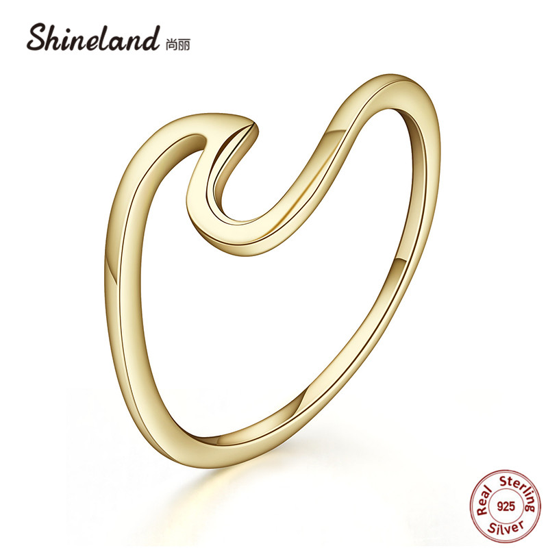 Shineland Brand Simple Wave Gold Silver Color 100% 925 Sterl