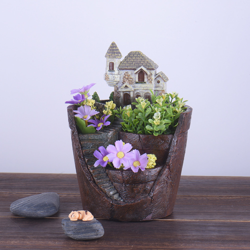 Creative Cartoon Hourse Resin Flower Pots Micro Landscape Artificial Flower Succulent Plants Pot Home Desk Garden Planters