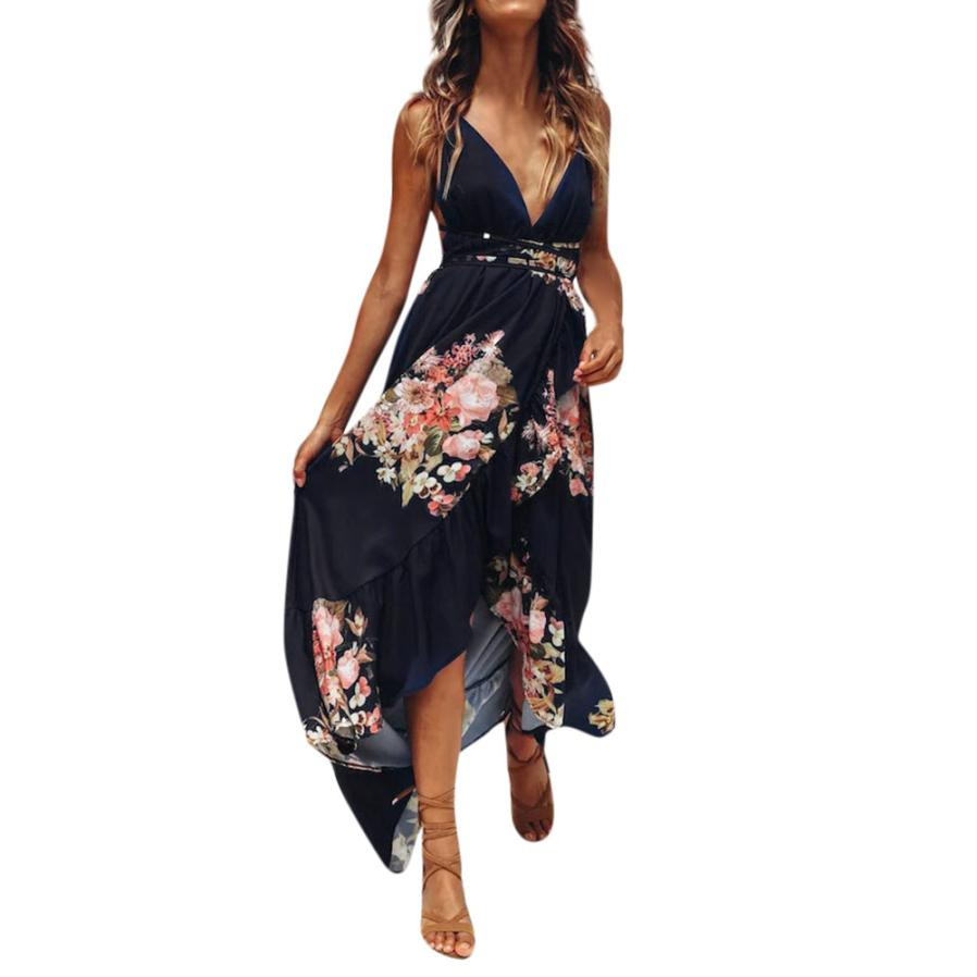 Trendzone 5/24 Womens Holiday Strappy Ladies Maxi Long Summer Boho Print Beach Dress Sundress Free Shipping