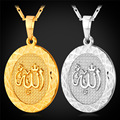 Gold Plated Islamic Allah Pendant Necklace For Women / Men Trendy Islam Charms Necklace Religious Muslim Jewelry P1401
