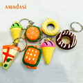 Free Shipping 100pcs/Lot 3D Food Key Ring Hamburger Donut Ice Cream Pizza Keychain Cute Cartoon Key chain Toys Gift KeyRing