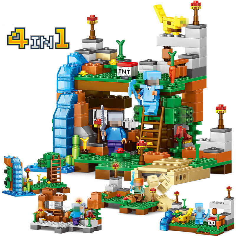 378pcs 4 in 1 Minecrafted Dragon Building Blocks Compatible LegoINGly city Figures Bricks Set Educational Toys for Children Gift