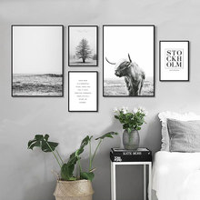 Cow Poster Black And White Canvas Painting Ocean Print Picture Tree Abstract Art Landscape Living Room Unframed