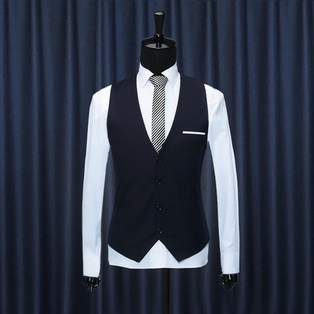 Mens Black Dress Suit Vest Plus Size S-3XL 2016 Fashion Wedding Men Slim Fit Suit Vest And Waistcoat Bussiness Suit Vest