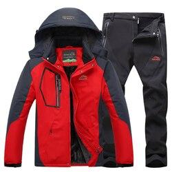 Trajes de esquí de lana termal Loldeal para hombre chaqueta impermeable de invierno pantalones de senderismo Camping esquí Snowboard chaquetas traje