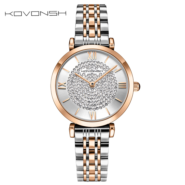 KOVONSH Stainless Steel Women Watches Diamond Lady Watch Quartz Wrist Watch Fashion Dress Women Watch Gift Present Dropshipping
