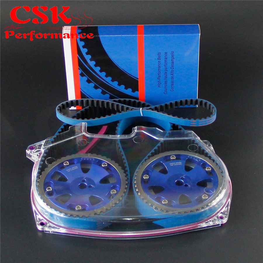 цены Racing Timing Belt Cover + Cam Pulley + Timing Belt Fits For Lancer Evolution 4G63 EVO 4 5 6 7 8 Blue,Gray,Silver