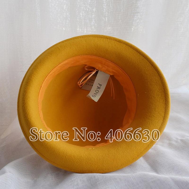 8a9c2dd1e41 Winter Yellow Wool Felt Bucket Hats Women Bowler Caps Female Derby Chapeau  Fedoras Free Shipping PWFR016-in Fedoras from Apparel Accessories on ...