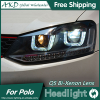 AKD Car Styling For VW Polo Headlights 2009 2015 GTI LED Headlight DRL Bi Xenon Lens