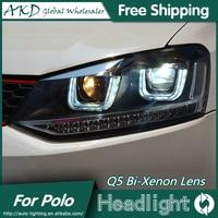 AKD Car Styling For VW Polo Headlights 2009 2015 GTI LED Headlight DRL Bi Xenon Lens