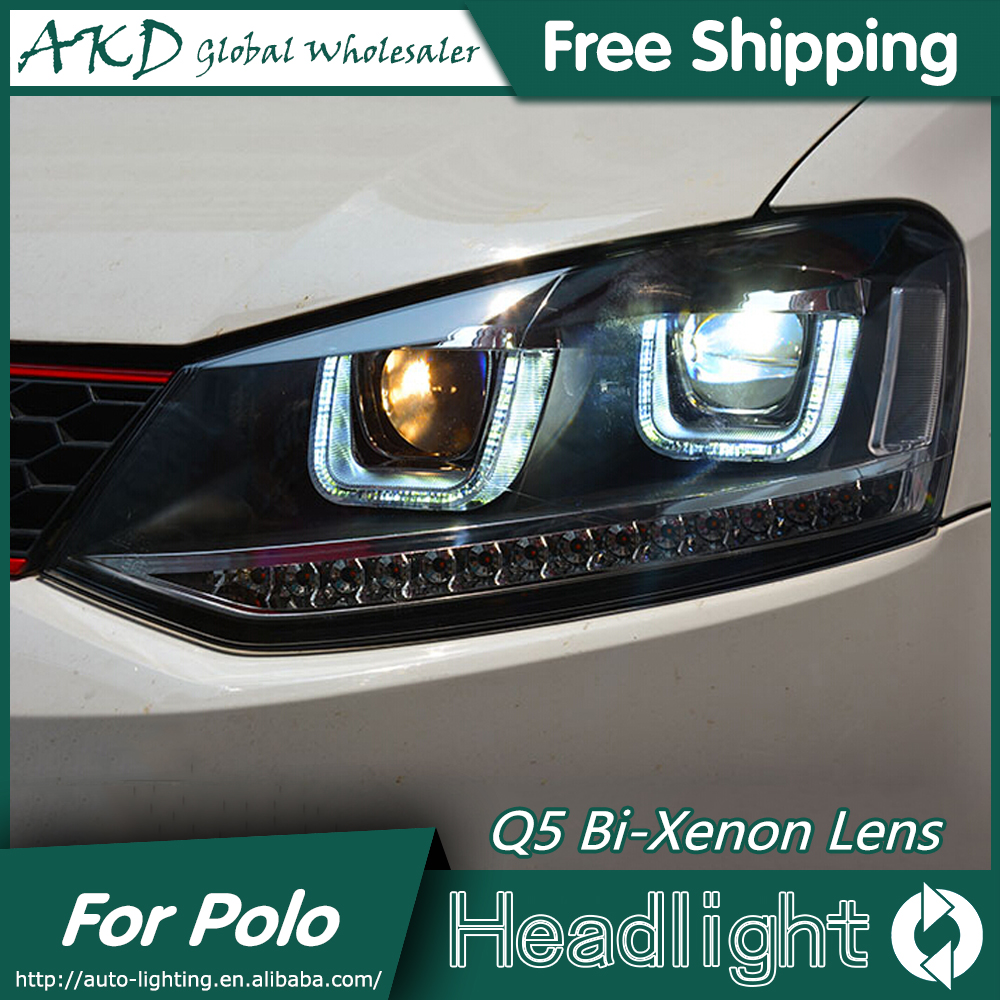 AKD Car Styling for VW Polo Headlights 2009-2015 GTI LED Headlight DRL Bi Xenon Lens High Low Beam Parking Fog Lamp Accessories akd car styling for nissan teana led headlights 2008 2012 altima led headlight led drl bi xenon lens high low beam parking