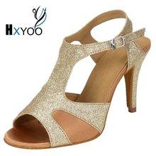HXYOO Glitter Latin Woman Dancing Shoes Custom For The Dance Salsa Ballroom Tango Shoes Gold Silver