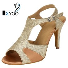 HXYOO Glitter Latin Woman Dancing Shoes Custom For The Dance Salsa Ballroom Tango Shoes Gold Silver Soft Sole WK026
