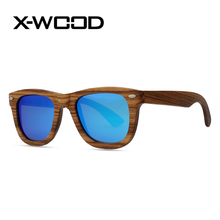 X-WOOD New Fashion Vintage Classical Square Zebra Wood Sunglasses Men Women Wooden Sunglass Men Green Red Mirror Sun Glasses