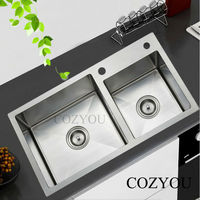 SUS304 Stainless Steel Kitchen Manual Sink Thickness 4mm Brushed Double Bowl Manual Sink 1 Drain Bowl