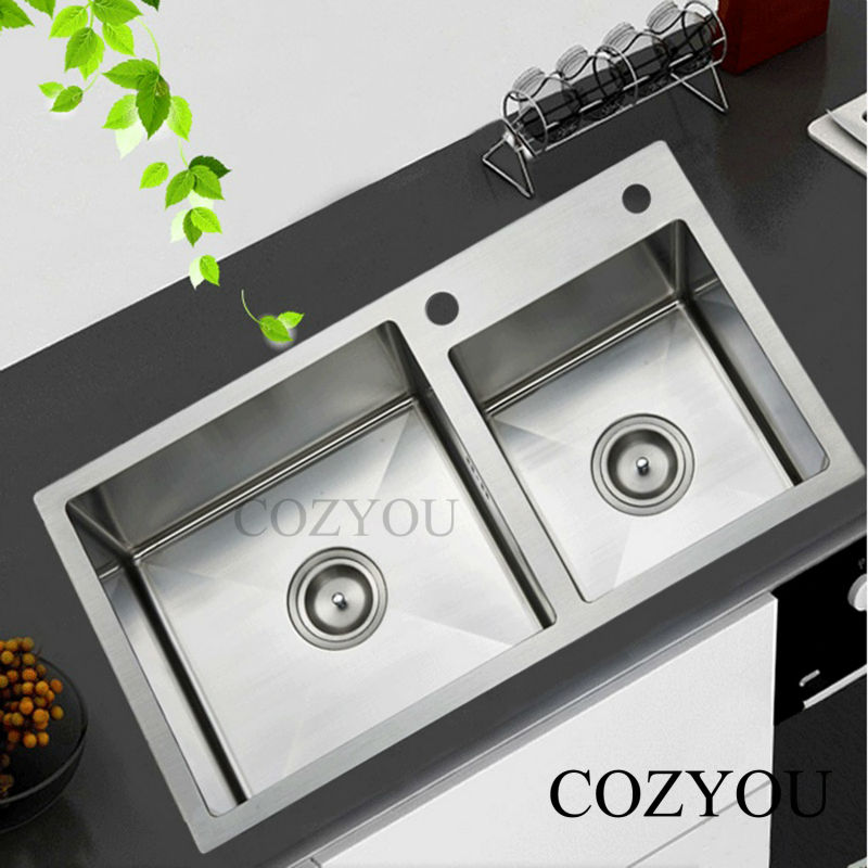 Sus304 Stainless Steel Kitchen Manual Sink Thickness 4mm Brushed Double Bowl Manual Sink 1 Drain Bowl 2 Drain Pipe Set 1
