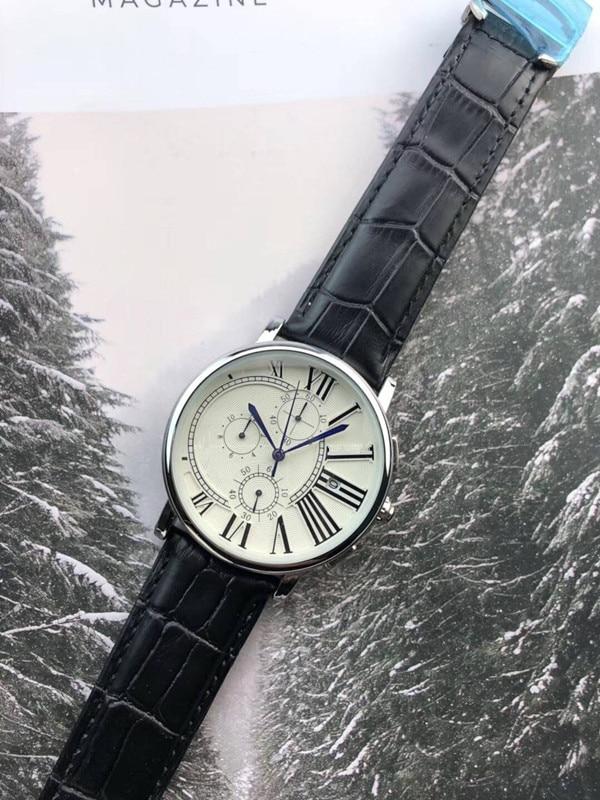 2019 marque de luxe célèbre Unique montre en cuir à Quartz homme grande montre hommes relogio masculino