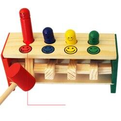 Детские деревянные молотки игрушки + палочка ящик с молотком для малышей Развивающие головоломки игрушки для детей деревянная игра молоток...