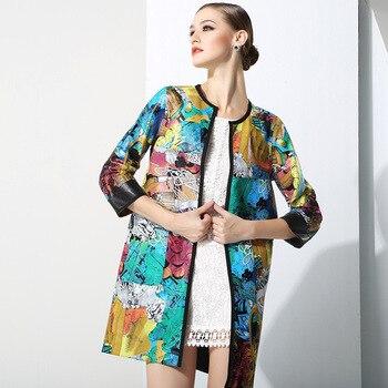 100% Kożuch! New Arrival Europejski Projekt Płaszcz Jesień Zima Kobiety Drukowane Naturalne Skóry Zamszowe Płaszcz Ze Skóry Naturalnej Odzieży Wierzchniej