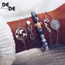 5 Pcs/set Bohemian Pineapple Turtle Heart Earth Bracelet Sets for Women Weave Rope Chain Bracelets Pulseras Mujer Stone Jewelry.