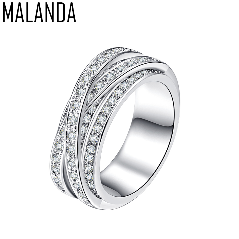 MALANDA Crystal from Swarovski Ring Luxury White AAA Zircon Vintage Rings For Women New Fashion Female Weddings Jewelry Gift