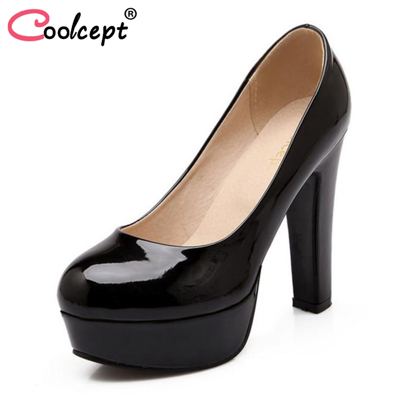 Coolcept women stiletto high heel shoes sexy lady platform spring fashion heeled pumps heels shoes plus big size 31-47 P16738
